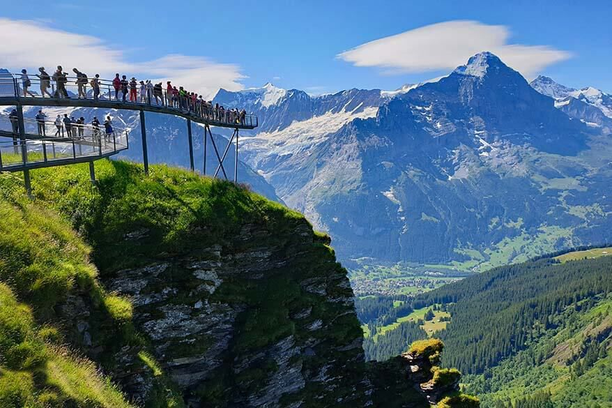 First cliff walk is metal footbridge that offers stunning views of snow tipped mountains