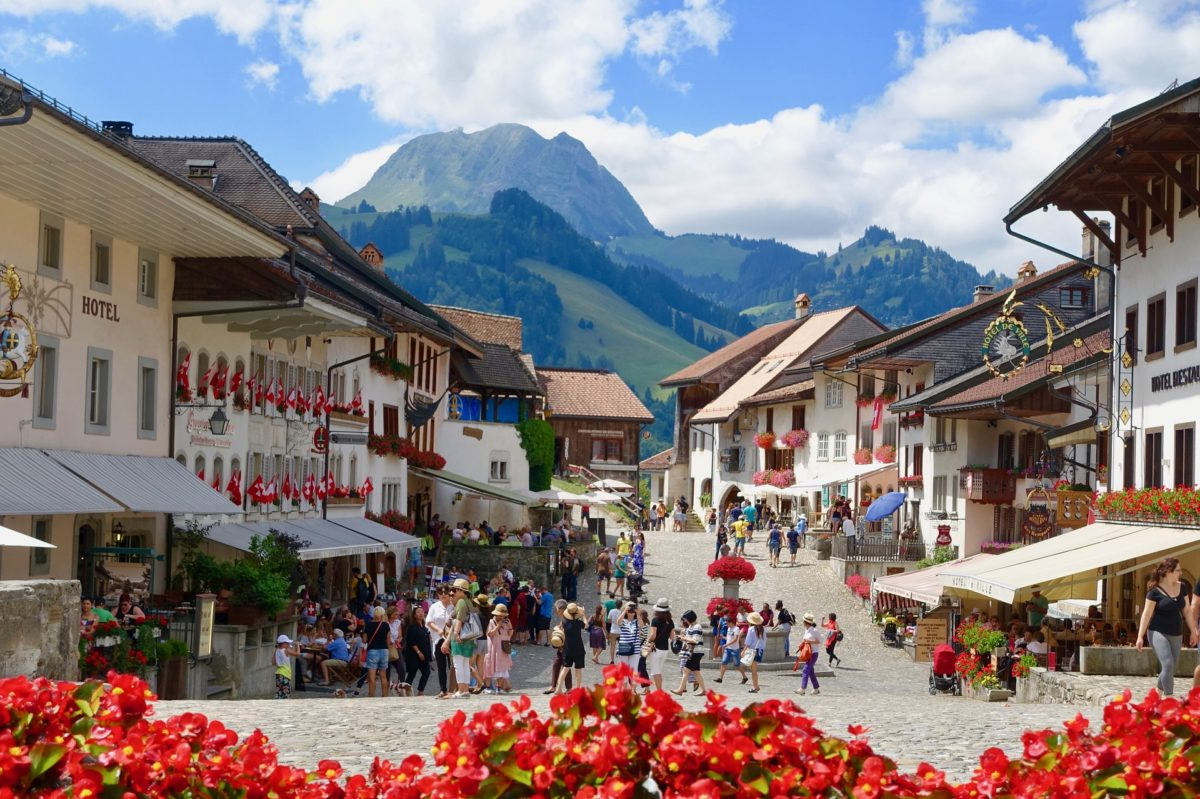 Amazing view of town streets and chalets of Gruyères
